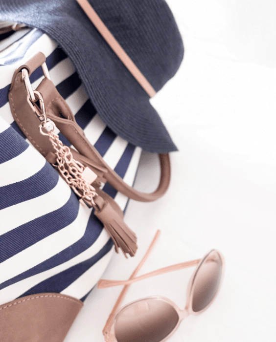 Navy white Striped bag and navy sun hat