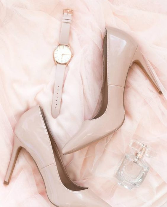 blush patent leather pumps